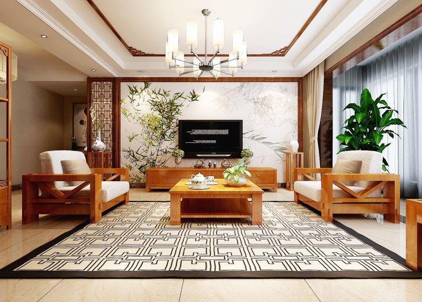 2019现代中式150平米效果图 2019现代中式套房设计图片