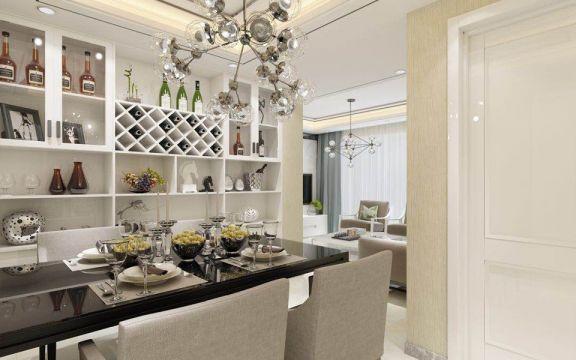 餐厅白色博古架新中式风格装饰图片