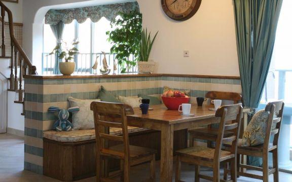 餐厅咖啡色餐桌田园风格装潢效果图