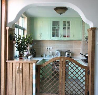 厨房绿色橱柜田园风格装修图片