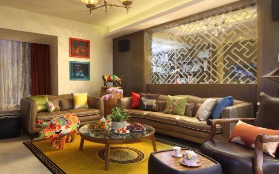 客厅黄色沙发中式风格装潢图片