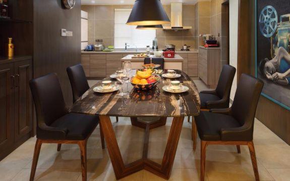 餐厅黑色餐桌中式风格装修设计图片