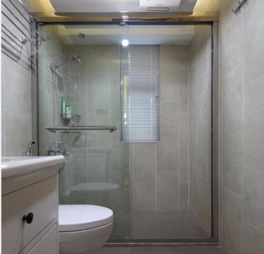 卫生间灰色背景墙中式风格装修效果图