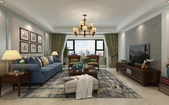 143平米美式风格四居室装修效果图