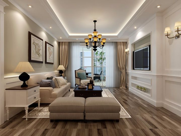 140平米美式风格楼房装修效果图