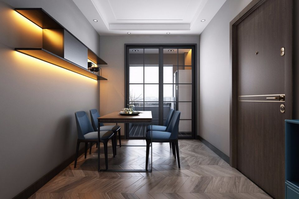 潮流新中式咖啡色餐桌装潢实景图片