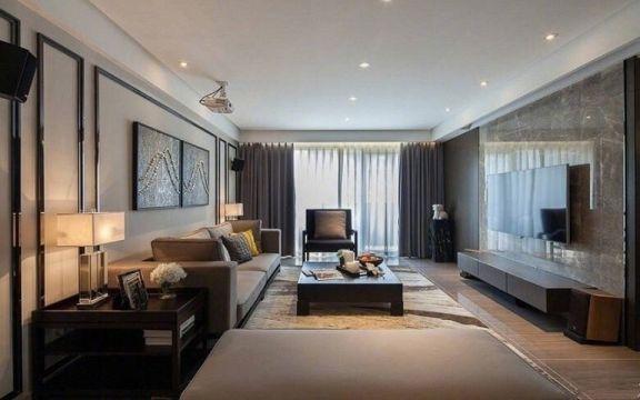 现代简约客厅窗帘实景图