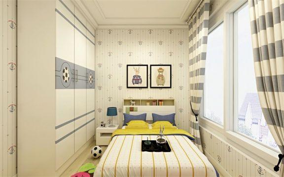 儿童房背景墙简单风格装潢效果图