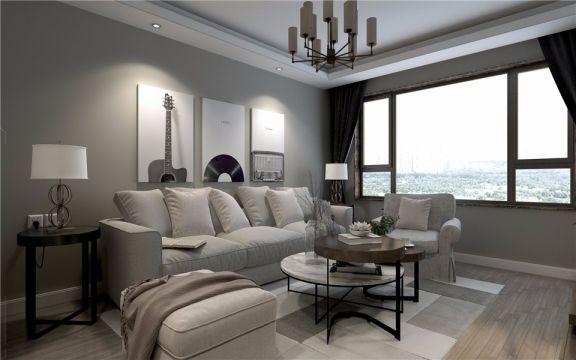 90平中式风格两居室装修效果图