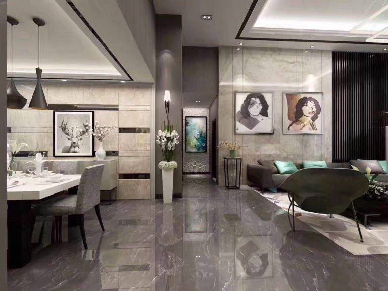 客厅地砖现代简约风格效果图