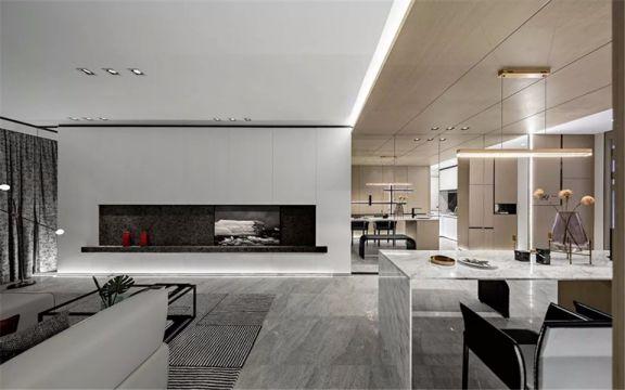 客厅地砖现代简约风格装修设计图片