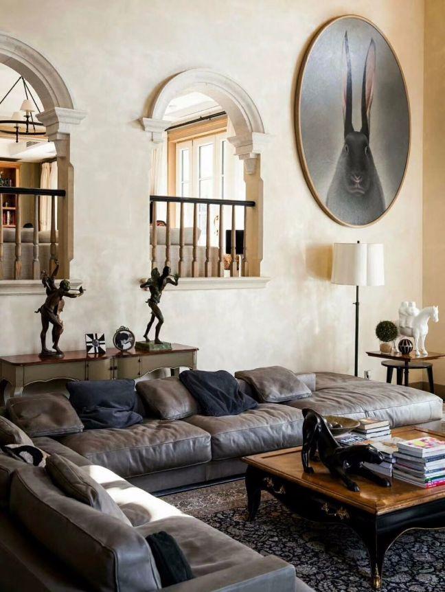客厅背景墙法式风格装修设计图片