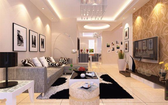 85平现代简约风格两居室装修效果图