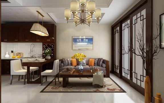 76平中式风格两室两厅装修效果图