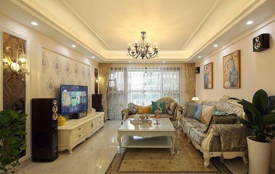 干净米色客厅装潢图片