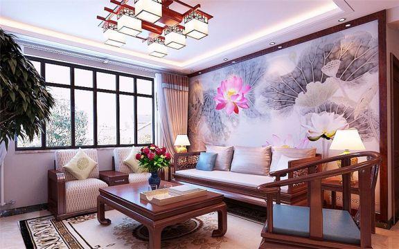 客厅彩色背景墙中式风格装潢设计图片