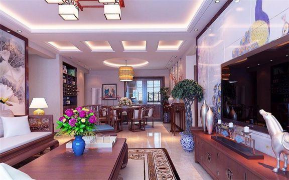 客厅白色吊顶中式风格效果图