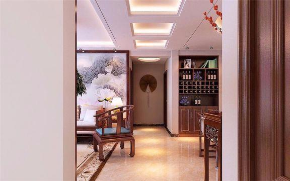 玄关白色走廊中式风格装修效果图