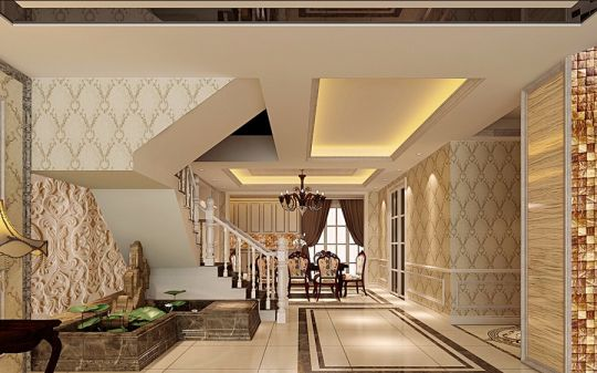 客厅白色楼梯简欧风格装潢效果图
