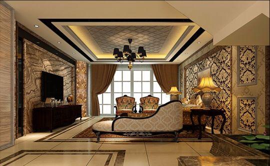 客厅米色吊顶简欧风格装饰图片