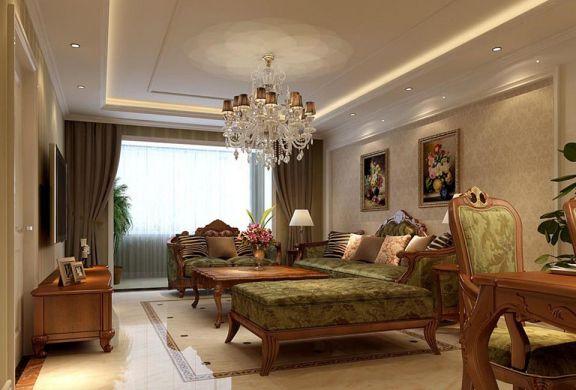 客厅绿色沙发欧式风格装饰效果图