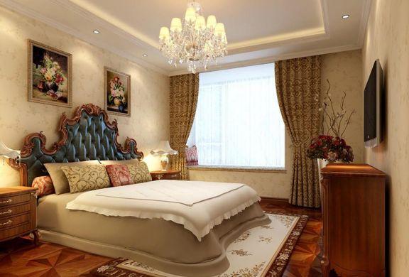 卧室米色背景墙欧式风格装潢效果图