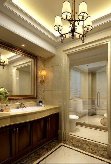 卫生间咖啡色洗漱台欧式风格装饰图片
