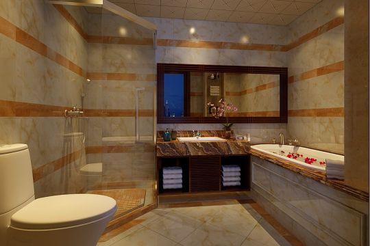 浴室白色浴缸中式风格装修图片