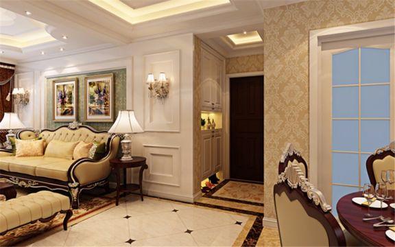 客厅绿色背景墙简约风格装潢图片