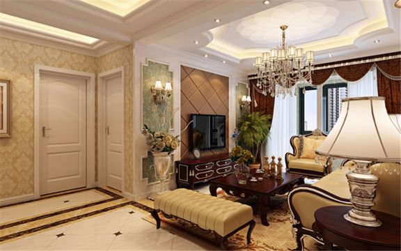 客厅白色吊顶简约风格装修设计图片