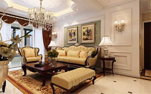 客厅米色沙发简约风格装潢设计图片