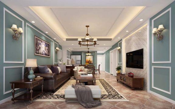 客厅绿色背景墙美式风格装饰效果图
