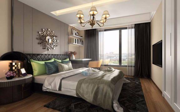 卧室灰色窗帘美式风格装潢效果图