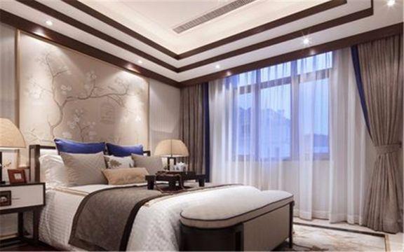 卧室米色床后现代风格装饰效果图