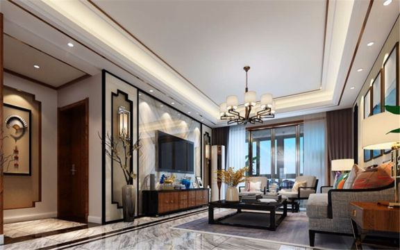后现代客厅窗帘装饰实景图