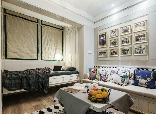 客厅白色照片墙北欧风格装饰设计图片