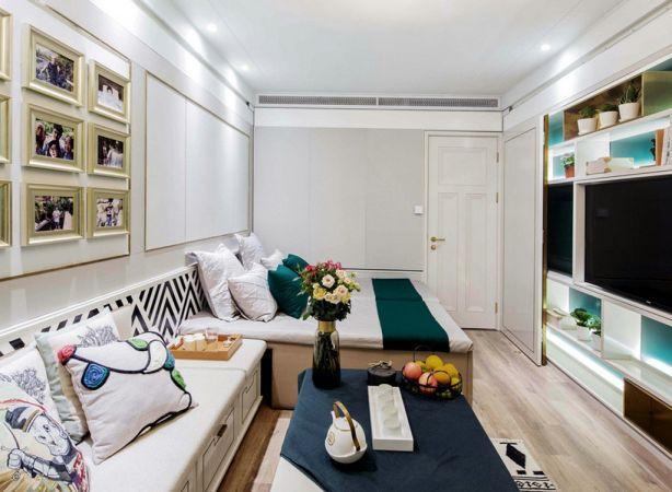 客厅白色沙发北欧风格装潢设计图片