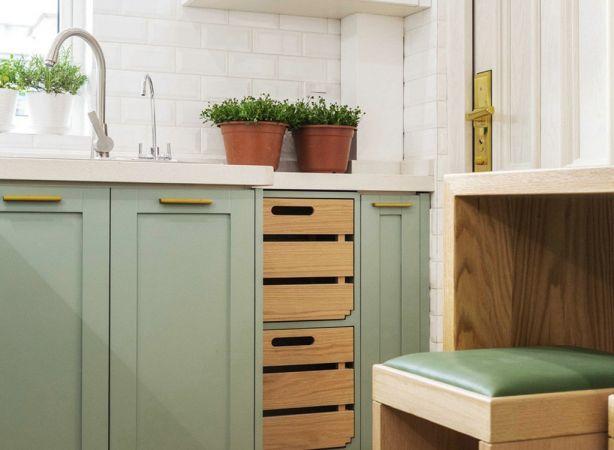 厨房绿色橱柜北欧风格装饰效果图