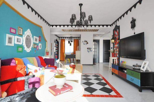 客厅白色吊顶混搭风格装潢图片