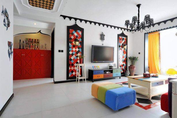 客厅彩色电视柜混搭风格装修设计图片