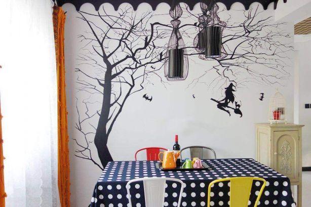 餐厅白色背景墙混搭风格装饰设计图片