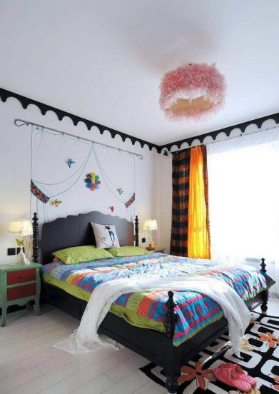 卧室黑色床混搭风格装潢设计图片