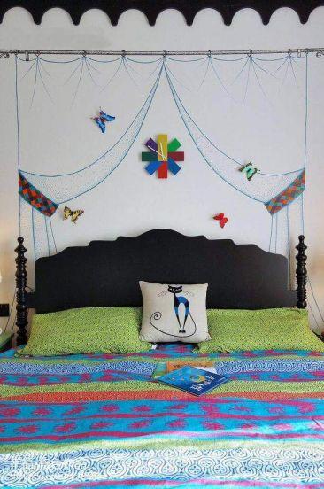 卧室白色背景墙混搭风格效果图