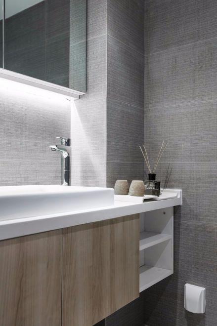现代卫生间洗漱台装饰实景图