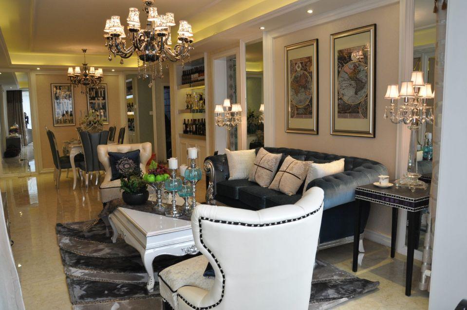 客厅灰色沙发新古典风格装修设计图片