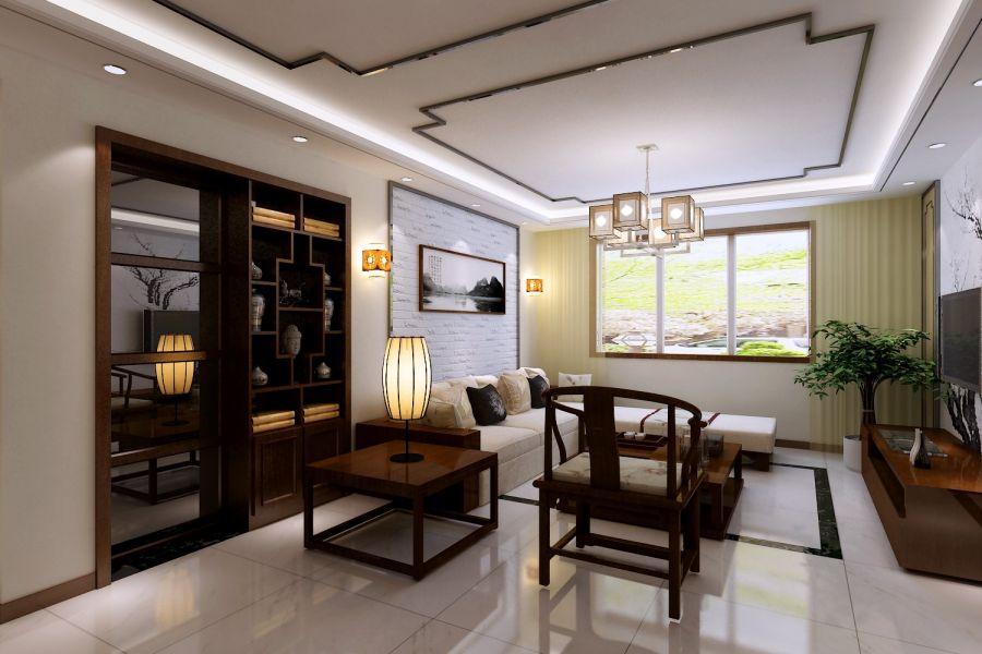 2018新中式110平米装修设计 2018新中式三居室装修设计图片