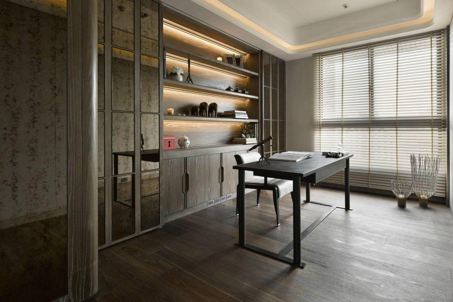 书房黑色书桌现代风格装饰效果图