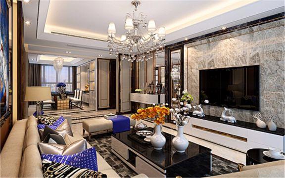客厅灰色背景墙后现代风格装饰效果图