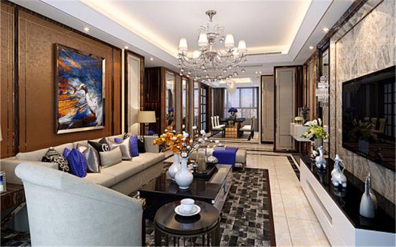 客厅咖啡色背景墙后现代风格装潢效果图