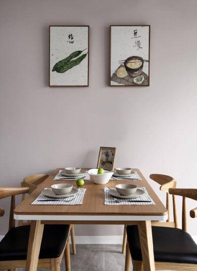 餐厅咖啡色餐桌北欧风格装潢图片